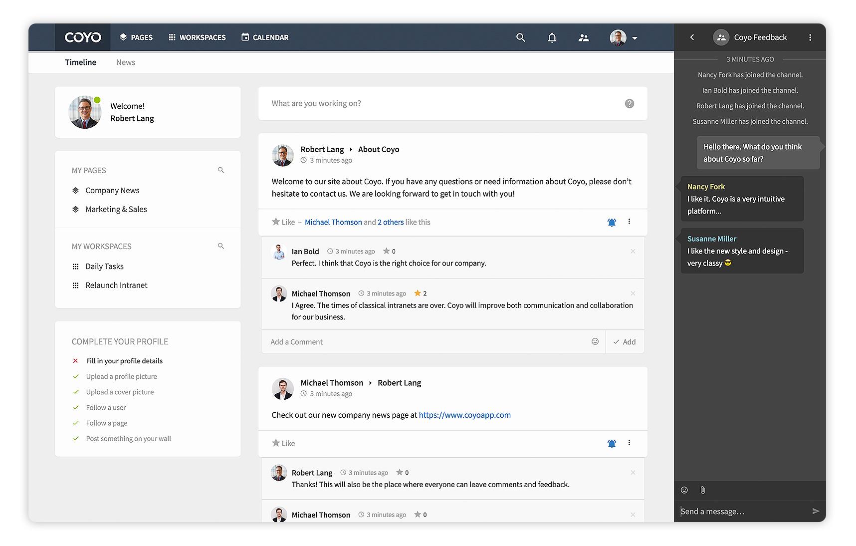 Kombiniere Unternehmensnachrichten und soziale Kommunikation